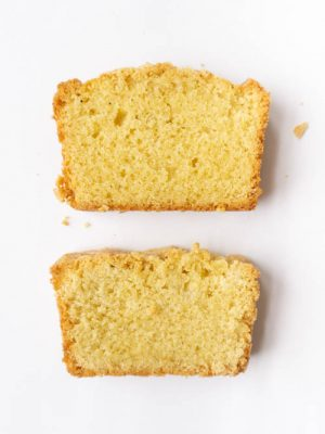 two different slices of pound cake
